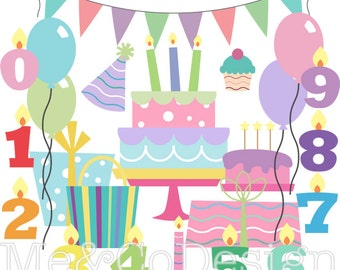 Birthday Party Clipart, Clip art for scrapbooking, invitations, Instant Download, Personal and Commercial Use Clipart, Digital Clip Art
