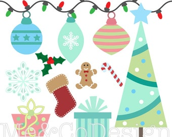 Christmas Trimmings Clipart, Fun Pretty Clipart, Winter, Snow Instant Download, Personal and Commercial Use Clipart, Digital Clip Art