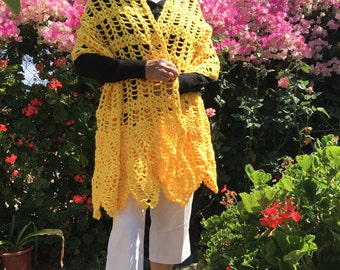 OneTime Handmade Golden Yellow Shawl Crochet