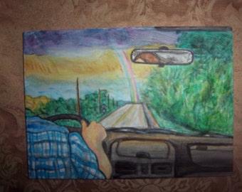 Rainbow from car original painting