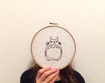 totoro embroidery 7""