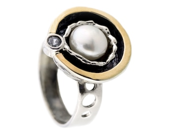 Pearl ring, silver pearl ring, white pearl ring, sterling silver ring, 9 karat gold ring, Silver zircon ring, birthstone ring, handmade