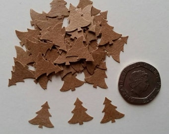 120 Natural brown Christmas pine tree shaped hand punched confetti .table decoration, crafts, scrapbooking,cardmaking