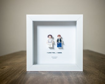 Personalized - I Love You - Star Wars Framed Lego Minifigures - Han Solo & Princess Leia