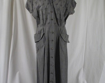 1950s Grey Cotton Day Dress Large Size