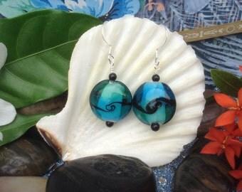 Aqua Lampwork Glass Dangle Earrings