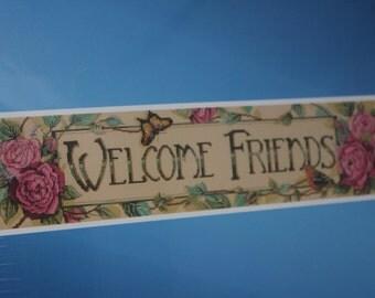 "Janlynn  Welcome Friends -- Cross Stitch Kit -- 26"" x 6"" -- Kooler Design Studio -- Butterfly Bird Vines -Banner Cross Stitch Kit -- 2004"