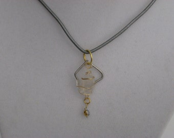 Silver Ice Wire Wrapped Sea Glass Pendant w leather cord