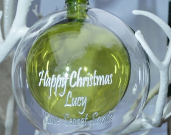 Personalised christmas bauble, engraved christmas gift, babys 1st christmas, in loving memory, bespoke christmas gift, christmas bauble