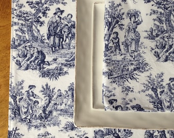 Blue Toile Placemats and Napkins, Toile Placemats, Toile Napkins, French Country Decor
