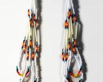 Beaded Porcupine Quill Loop Earrings- Native Style Quill Jewelry- Hippie Bohemian Long Dangle Earrings- Southwest Tribal Earrings SWA1509191