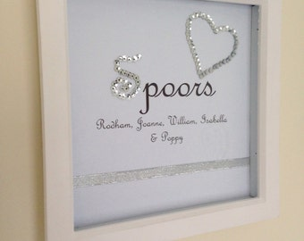 Sparkly sequins personalised family frame
