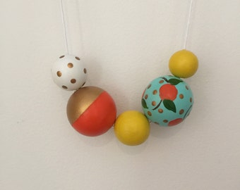 Wooden bead necklace // LIMITED EDITION // Botanical Collection //Geometric and round wooden bead necklace // handpainted orange turquiose f