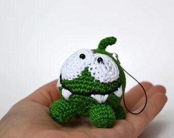 Crochet Om Nom / Amigurumi Doll of Cut the rope / Handmade pendant / Stuffed toys / Crochet doll / Crochet kawaii toy / Cute monster /