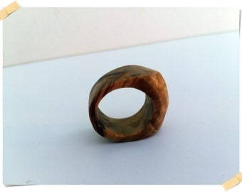 Wooden hand crafted ring made of Istrian Olive wood,simple design, 100% natural, ring size 8.