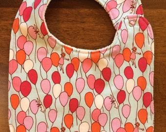 Baby Bib - Whimsical Balloon and Bunny Design - Blue, Pink, Orange