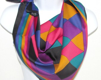 Vintage Harlequin Scarf by Specialty House, XLarge Size, Black Pink Orange Purple Teal, Made in Italy Fashion Accessory, Diamonds