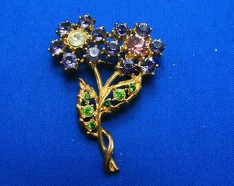 Vintage Sparkling Big Gold Tone Rhinestone Flower Pin Brooch