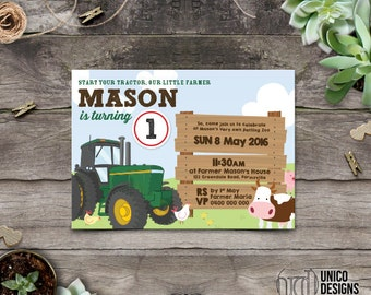 Farmer Invitation Printable / DIY / Change to any Age