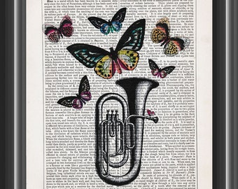 Tuba musical instrument print with butterflies vintage dictionary print illustration room decor