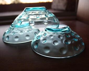 Set of 3 Hazel Atlas Capri Dot Fruit/Desert Bowls