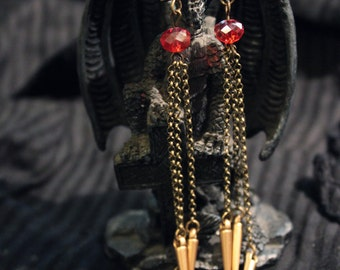 Gothic - dangle earrings in brass bronze colour and red beads