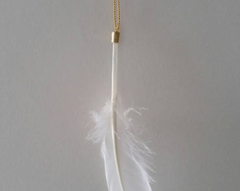 Feather necklace white gold