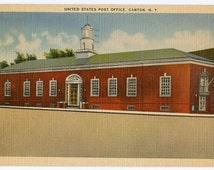 1948 United States Post Office, Canton, New York, vintage linen postcard, collectible, memorabilia, ephemera
