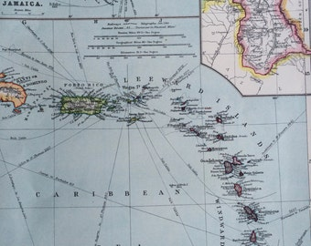 1903 West Indies: Lesser Antilles Original Antique Map, 10 x 15.5 inches, Harmsworth map