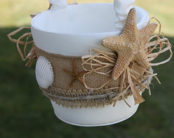 Seashell Flowergirl Basket/ Beach Themed Wedding/ Destination Wedding