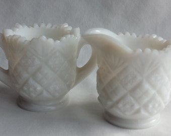 Small Sugar and Creamer, Vintage Milk Glass Sugar and Creamer, Cut Glass