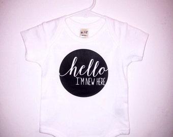 Hello I'm New Here Onesie // Baby Shower Gift // Baby Bodysuit // Gift // New Baby