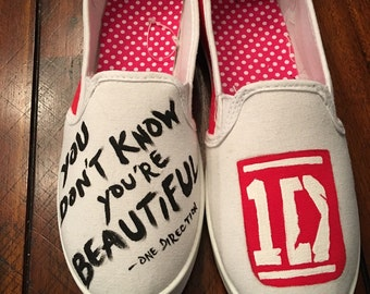 ONE DIRECTION inspired Custom made to order hand painted canvas shoes teens, girls,