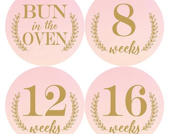 Pregnancy Stickers, Belly Bump Stickers, Belly Stickers, Maternity Stickers, Weekly Pregnancy Stickers, Pink Ombre, Pregnancy Bump Stickers