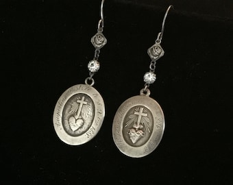 antique french sacred heart nun's medals earrings valentines day earrings