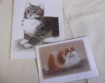Pet Portraits in Pastel by Joan Longley Ginger & White Cat and a Tabby Cat
