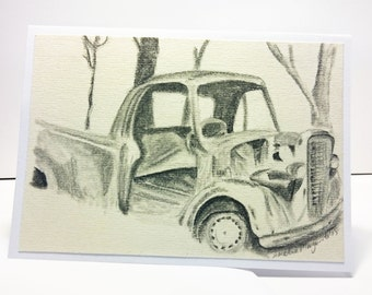Greeting Card, Old Truck Drawing, Birthday, Get Well, Original