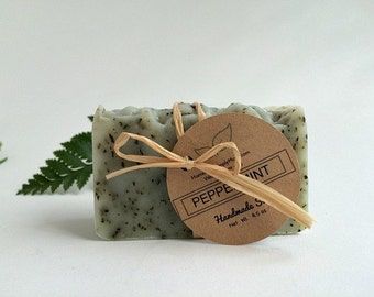Peppermint Natural Soap- Vegan- Handmade Soap Bar with Essential Oils-  Hand and Foot exfoliant Soap