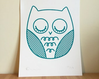 A4 Hand Printed Owl Screen Print