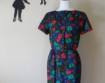 Vintage 1950's Floral Wiggle Dress / 50s Silk Jacket and Dress Set M  tr