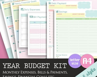 BUNDLE DEAL - Yearly Finance Kit, Monthly Expenses, Budget Tracker Template, Household Bills Organizer, Financial Planner, A4 Letter Size