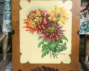 """Paul de Longpre """"Chrysanthemums"""" Shellacked Vintage Print"""
