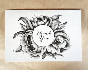 A7/A6 size/Instant Download-2 THANK YOU CARDS/Greeting Card/Peony Illustrated Card