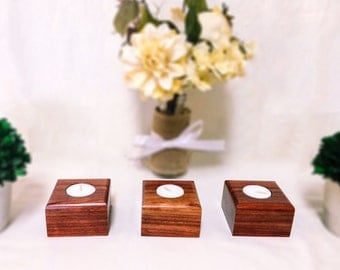 African Padauk Set of 3 Luxury Tea Candle Holders - 5 Year Anniversary Gift - Unique Stocking Stuffers - Gift for her - Fall Decor