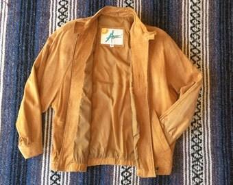 Women's 80s Large <> Alvear butterscotch Suede Leather Bomber Jacket <> Shoulder Pads Dolman Sleeves <> Vintage