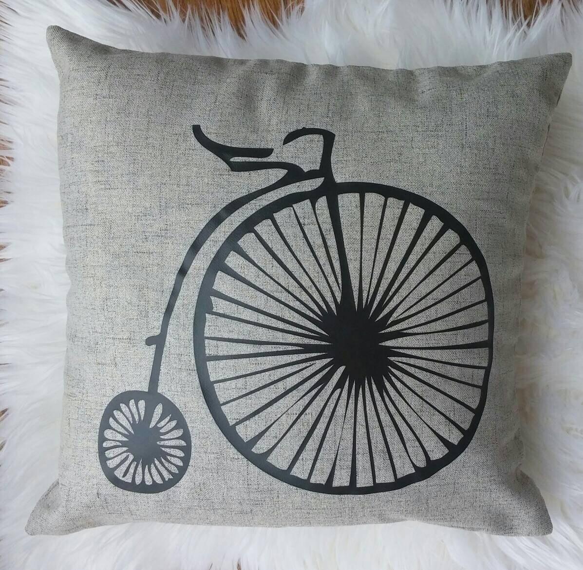 Unique Modern Decorative Home Decor Throw Pillow Retro Bike