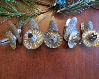 Early 1900s Set of Five Tin Clip-on Christmas Tree Candleholders Victorian