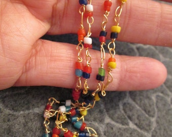 "Vintage 1950's TIBETAN Beaded rope necklace, 50"" long>>multi color"