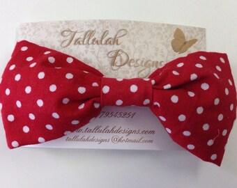Red spot barette bow