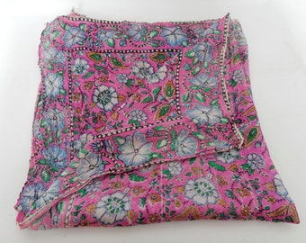 A Lovely Vintage Silk Scarf, small square scarf, Good condition, shabby chic, retro. Boho. floral scarf , Square Scarf.